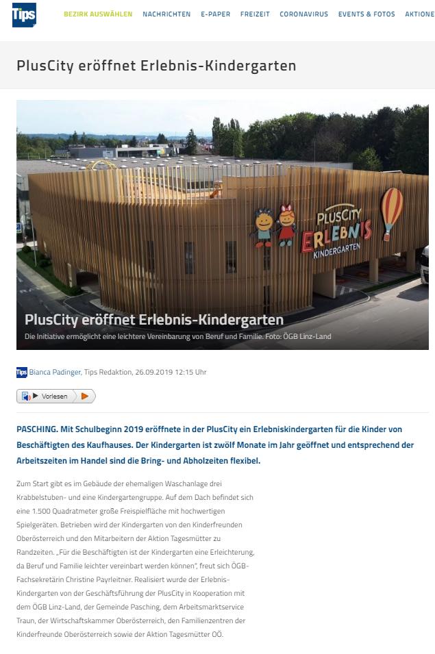Tips September 2019: Plus City eröffnet Erlebnis-Kindergarten
