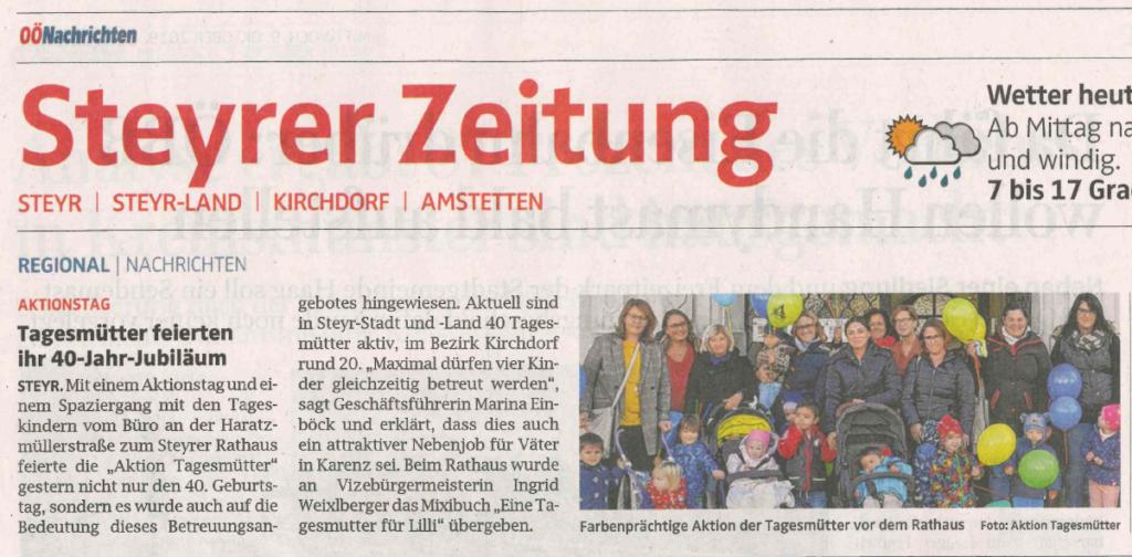 Steyrer Zeitung Oktober 2019: Tagesmütter feierten ihr 40-Jahr-Jubiläum