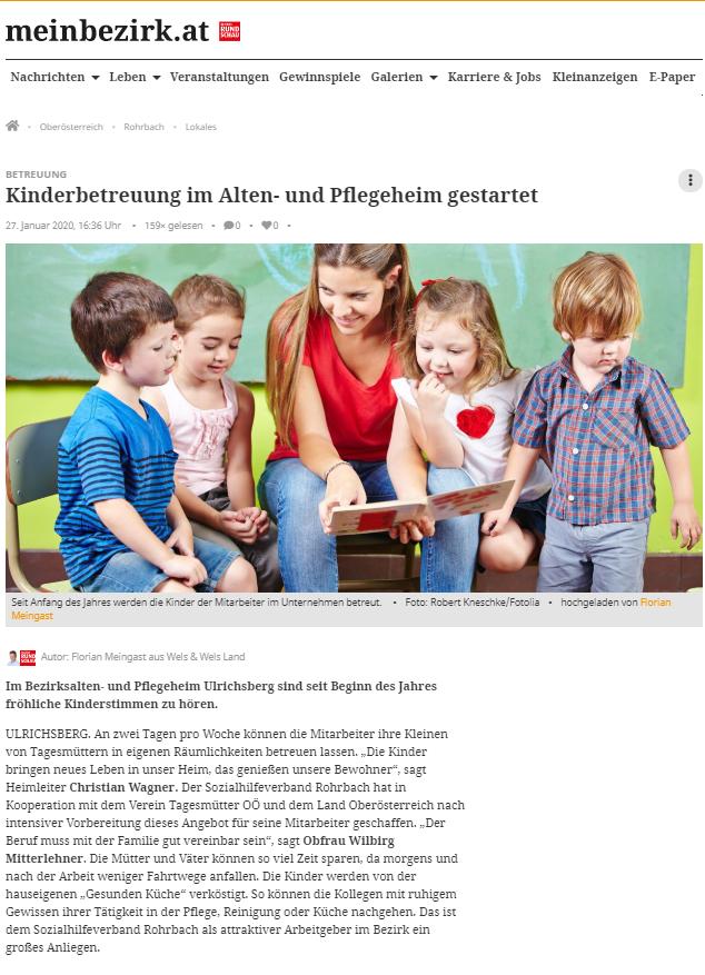 Bezirksrundschau Jänner 2020: Kinderbetreuung im Alten- und Pflegeheim gestartet