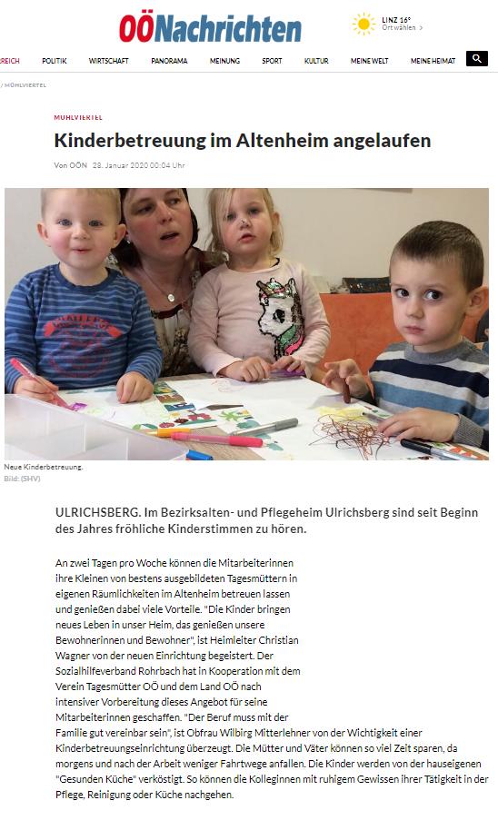 OÖNachrichten Jänner 2020: Kinderbetreuung im Altenheim angelaufen