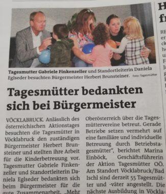 Bezirksrundschau Vöcklabruck Oktober 2019: Tagesmütter bedankten sich bei Bürgermeister