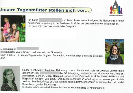 Molln Gemeindezeitung März 2020: Unsere Tagesmütter stellen sich vor