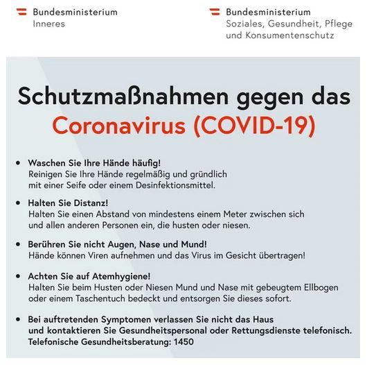Schutzmaßnahmen gegen das Coronavirus