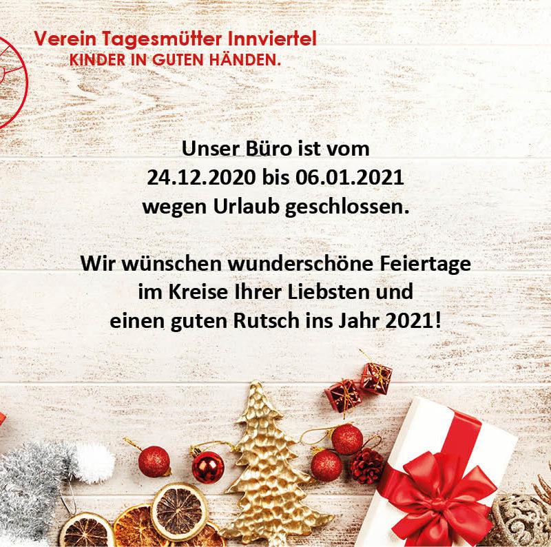Das Büro des Vereines Tagesmütter ist über Weihnachten geschlossen.